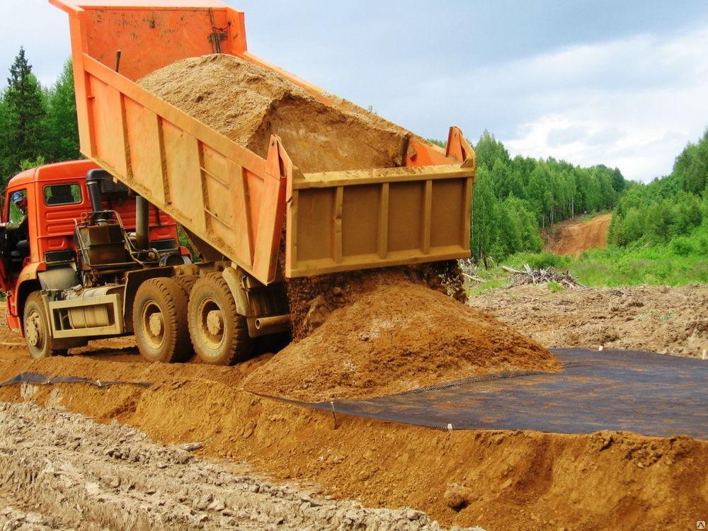 песок на геотекстиль